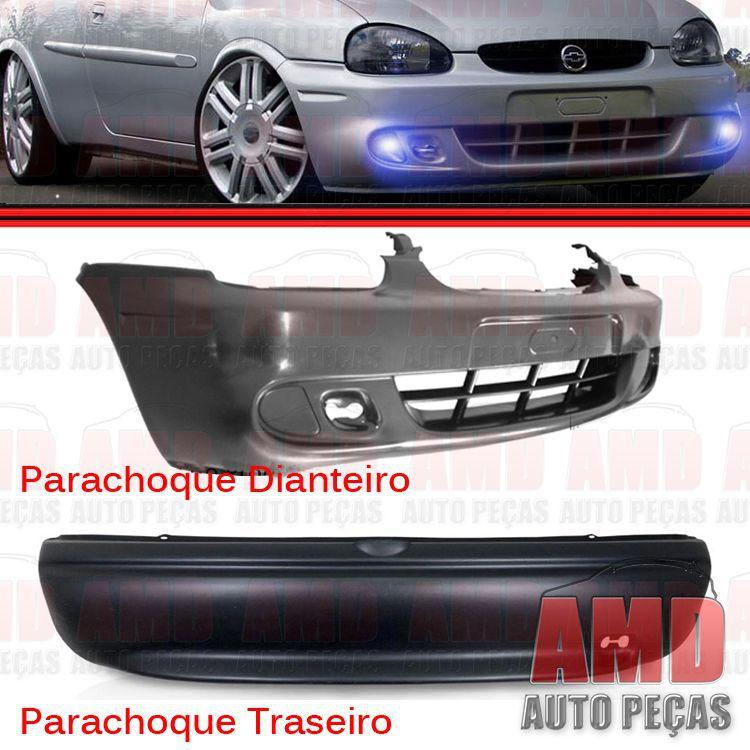 Parachoque Dianteiro + Traseiro Corsa Hatch Super 01 a 03 Preto Liso Para Pintura DTS