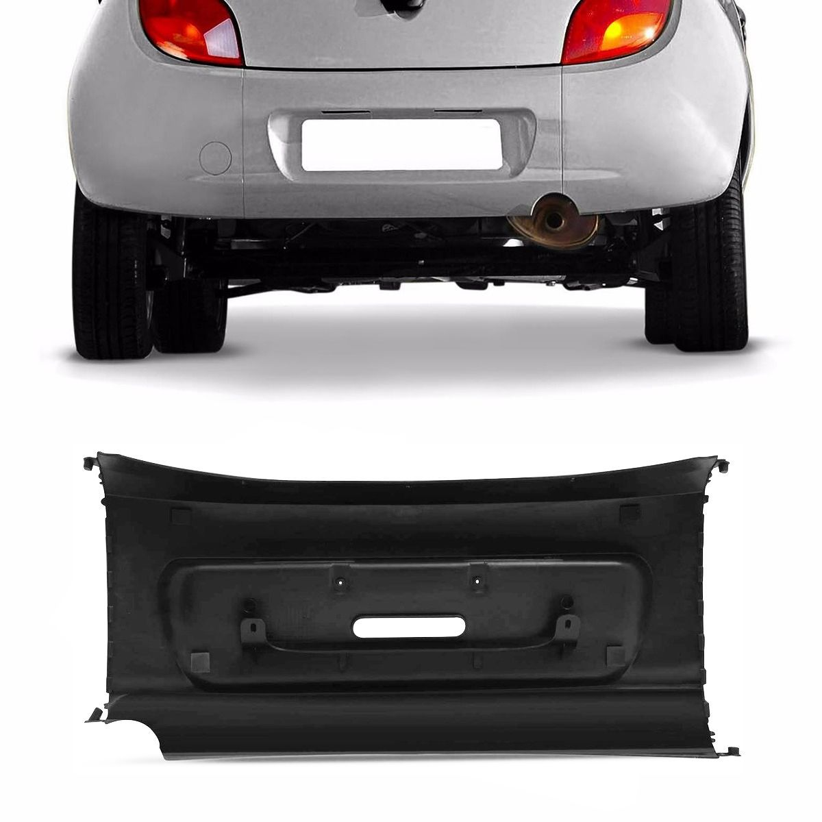 Kit Parachoque Traseiro Central + Lateral Ford Ka 97 a 02 Preto Poroso