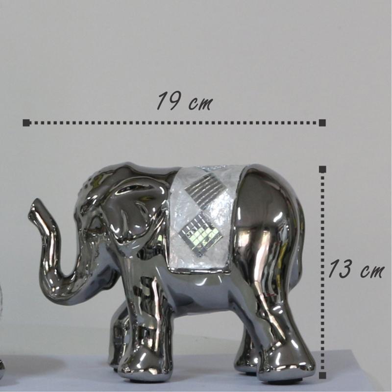 Elefante Decorativo, com detalhes em Espelhos e Madrepérola Mod.905