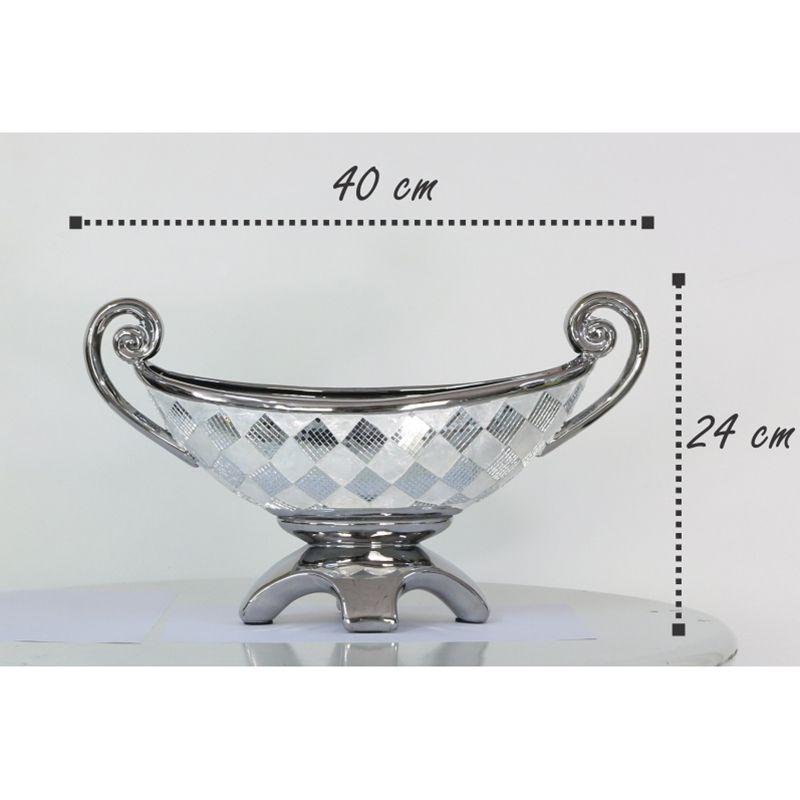 Fruteira Decorativa com Detalhes em Espelhos e Madrepérola Mod.745