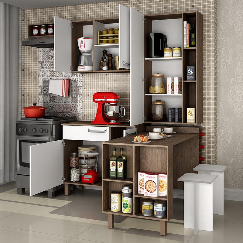 Cozinha compacta com mesa e bancos Decari 07