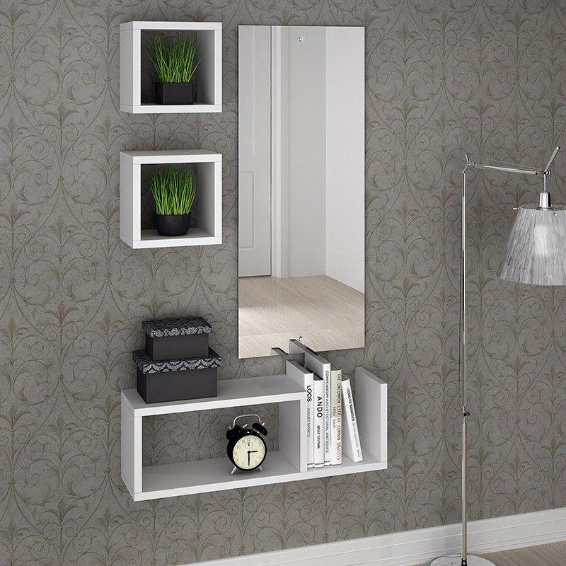 Prateleira Decorativa com Nicho 90 x 30 cm Lineare 38905 Branco