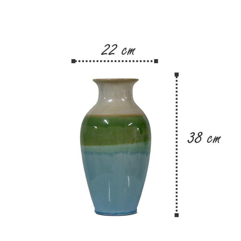 Vaso decorativo em cerâmica azul, verde e bege. Modelo 962