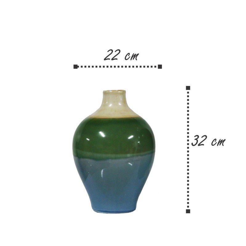 Vaso decorativo em cerâmica azul, verde e bege. Modelo 964