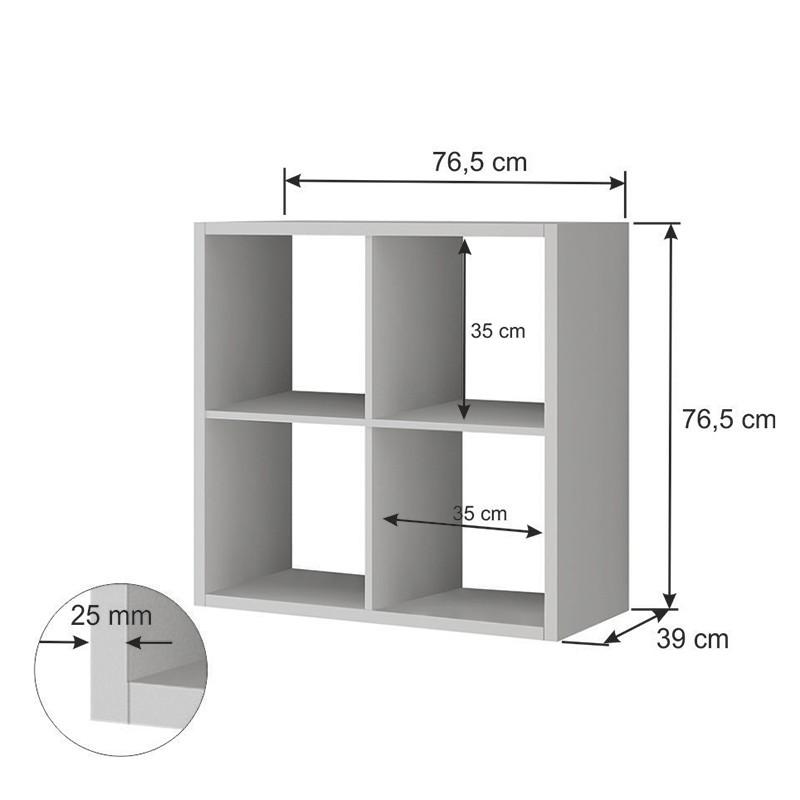 Estante com 04 nichos em 25 mm e 02 Caixas Box Lineare 38042 Branca