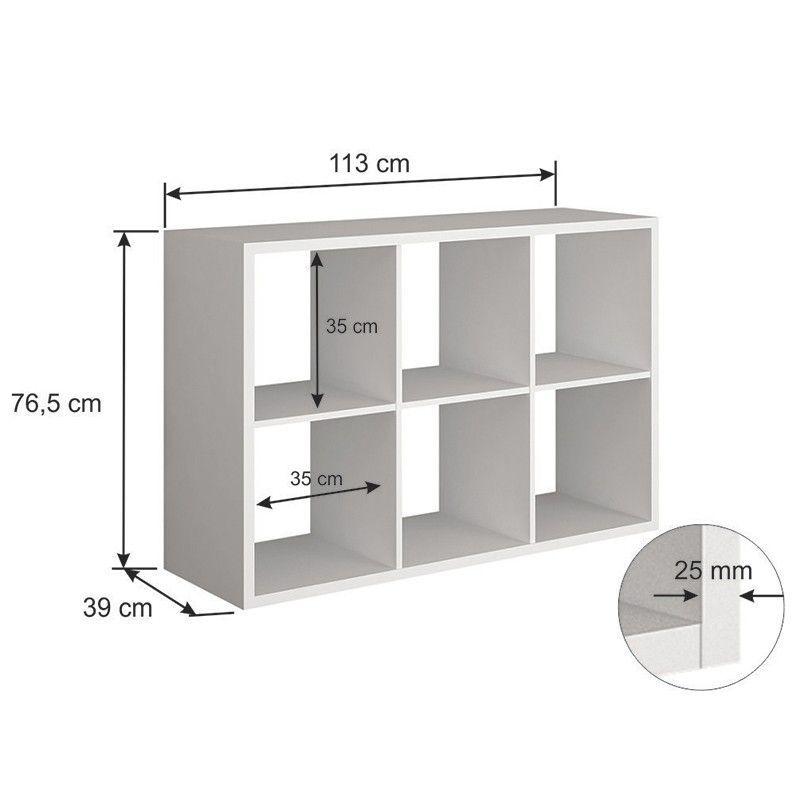 Estante 06 nichos em 25 mm c/ Divisor de Prateleira Lineare 38062