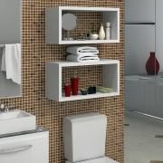 Conjunto de Prateleiras para Banheiro com 2 peças Lineare 04 Branco