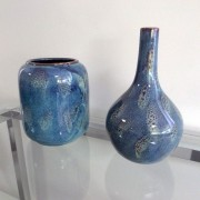 Vaso Decorativo em Cerâmica azul. Mod. 967
