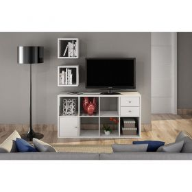 Conj. Estante e prateleiras decorativas em 25 mm Lineare 38083 Branca