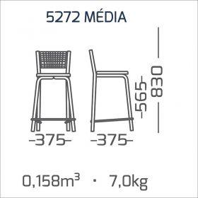 2 Banquetas Médias com Encosto Aramado Modelo 527