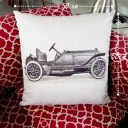Almofada Carro - Preta e Branco 50x50cm