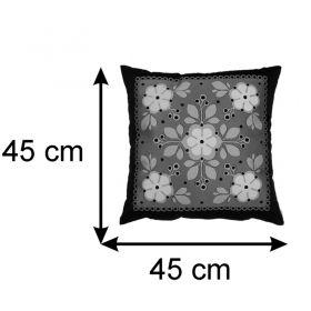Almofada Decorativa Floral Preto e Pistache 45x45 Cm