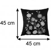 Almofada Decorativa Jasmim Café E Vermelho 45x45 Cm