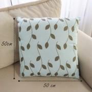 Almofada Folhas - Azul/Verde Escuro 50x50cm
