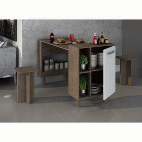 Balcão mesa com nichos e armário Decari 31041