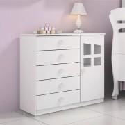 Cômoda Favola 1 porta e 5 gavetas Branco