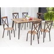 Conjunto para Sala de jantar Calcário Mesa em Madeira estilo demolição 140 cm Café e 06 cadeiras Modelo 416