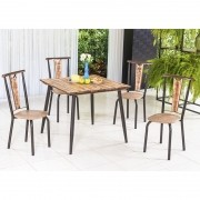 Conj. p/ s. jantar com mesa de madeira estilo demolição 90 x 90 cm e 04 cadeiras 418 Corino