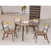 Conjunto para Sala de Jantar Calcário Mesa em Madeira Estilo Demolição 90 cm Color e 04 Cadeiras Color Modelo 470