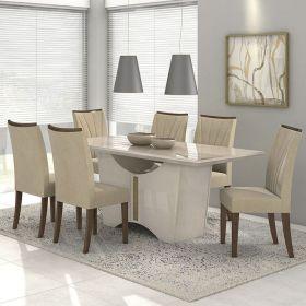 Conjunto 02 Cadeiras Apogeu Imbuia/Veludo Creme