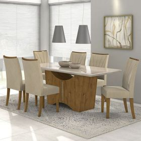 Conjunto 02 Cadeiras Apogeu Rovere/Veludo Creme