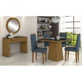 Conjunto 02 Cadeiras Dafne Veludo Creme/Rovere