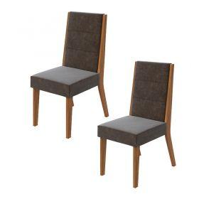 Conjunto 02 Cadeiras Saara Rovere Naturale Lopas