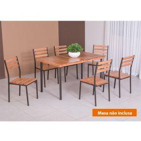 Conjunto 06 Cadeiras Madeira E Aço Açaí 541 Modecor
