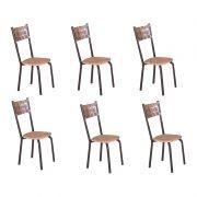 Conjunto 06 cadeiras Modelo 551 na Cor Café Modecor