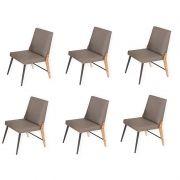 Conjunto 06 cadeiras Modelo 832 Café com Courino A1037 Modecor
