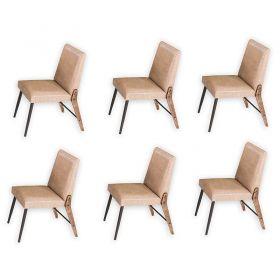 Conjunto 06 cadeiras Modelo 832 Café com Courino A905 Modecor