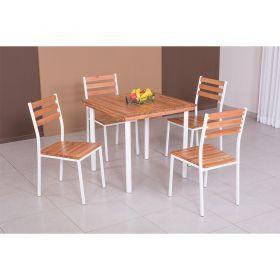 Conjunto Açaí Mesa Em Madeira E Aço 80 cm E 04 Cadeiras 541 Modecor