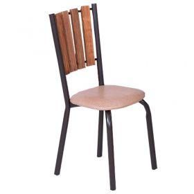 Conjunto Cacau Mesa Em Madeira E Aço 80 Cm Café E 04 Cadeiras Modelo 417