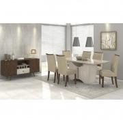 Conjunto Completo Sala de Jantar Mesa 180 cm Rock 06 Cadeiras Apogeu e Buffet Ballet Lopas