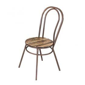 Conjunto de Mesa em Madeira 90 cm e 04 cadeiras Corten Modelo 518 Flor de Lis