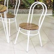 Conjunto de Mesa em Madeira 90 cm e 04 cadeiras Brancas Modelo 518 Flor de Lotus