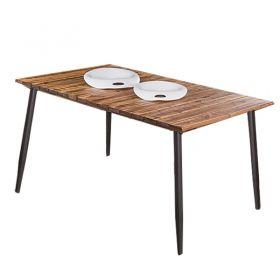 Conjunto Para Sala De Jantar Alecrim Mesa Em Madeira Estilo Demolição 160 Cm Café E 06 Cadeiras