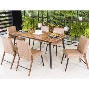 Conjunto para Sala de Jantar Azaléia Mesa em Madeira estilo Demolição 160 cm Café e 06 cadeiras Modelo 832
