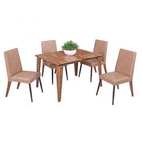 Conjunto para Sala de Jantar Cactus Mesa em Madeira 120 cm estilo demolição e 04 cadeiras Modelo 834