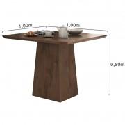 Conjunto para Sala de Jantar com Mesa Nevada Imbuia Soft 100cm e 04 Cadeiras Dafne