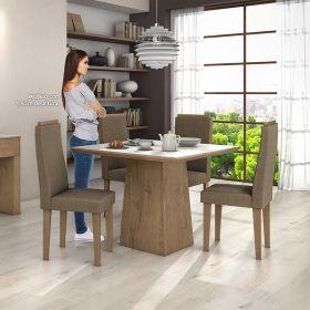 Conjunto para Sala de Jantar com Mesa Nevada Carvalho Soft 100cm com tampo de vidro branco e 04 Cadeiras Dafne