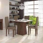 Conjunto para Sala de Jantar com Mesa Nevada Imbuia Soft 100cm com tampo de vidro branco e 04 Cadeiras Dafne