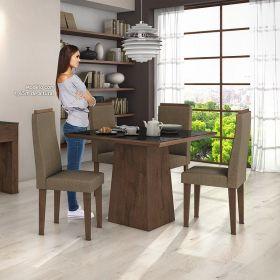 Conjunto para Sala de Jantar com Mesa Nevada Imbuia Soft 100cm com tampo de vidro preto e 04 Cadeiras Dafne
