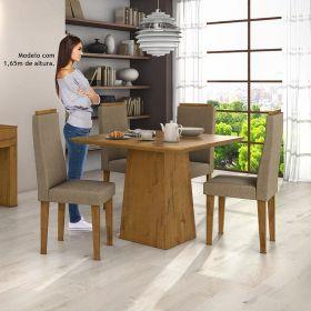 Conjunto para Sala de Jantar com Mesa Nevada Rovere Soft 100cm e 04 Cadeiras Dafne