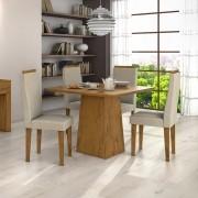 Conjunto para Sala de Jantar com Mesa Nevada Rovere Soft 100cm e 04 Cadeiras Dafne Naturale Creme