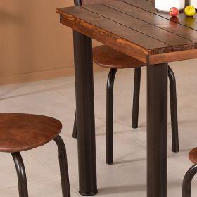 Conjunto para Sala de Jantar Ipê Mesa em Madeira 80 cm Café e 04 Cadeiras Modelo 562