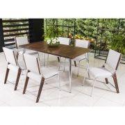 Conjunto para Sala de Jantar Magnólia Mesa em Madeira 160 cm e 06 cadeiras Modelo 822