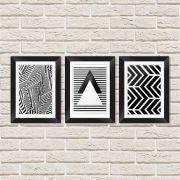 Conjunto Quadros Decorativos com Moldura e Vidro Geometrias