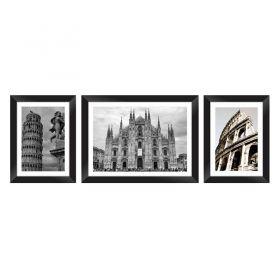 Conjunto Quadros Decorativos com Moldura e Vidro Pontos Turísticos