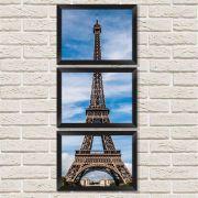 Conjunto Quadros Decorativos com Moldura e Vidro Torre Eiffel C013